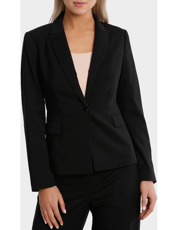 Black Fine Line Suit Jacket image 2