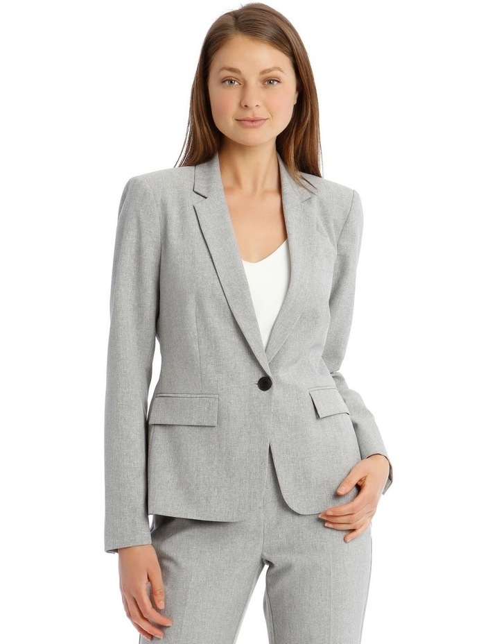 Grey Textured Suit Jacket image 1