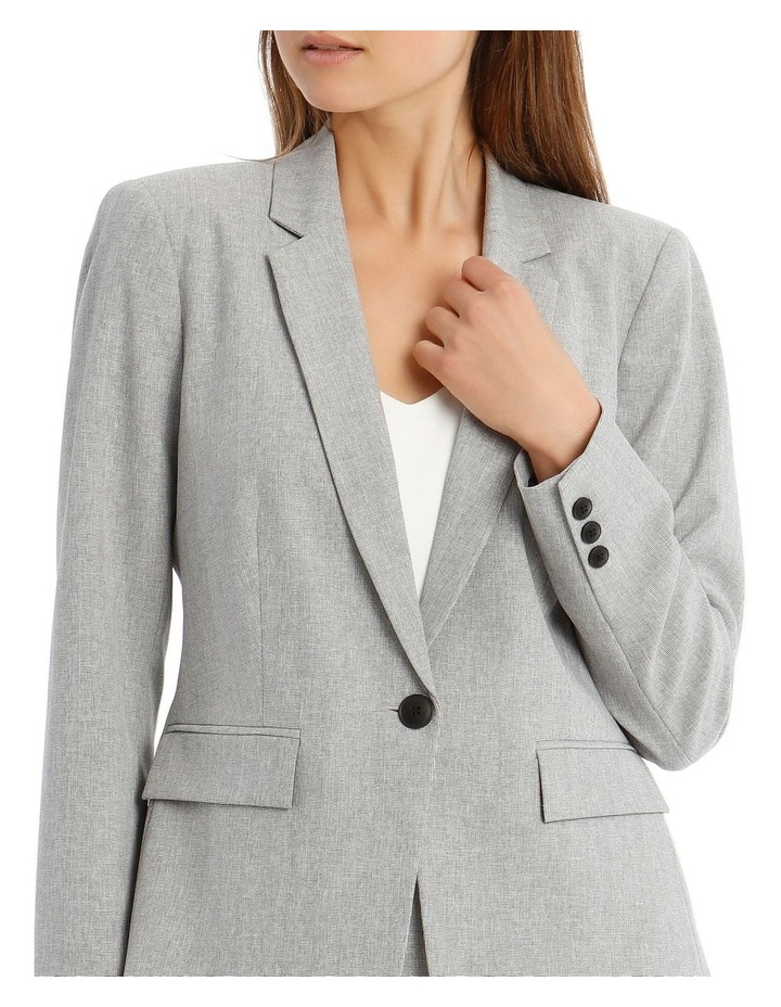 Grey Textured Suit Jacket image 4