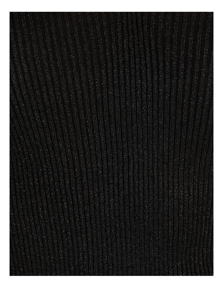 V-Neck Metallic Ribbed Jumper Black image 7