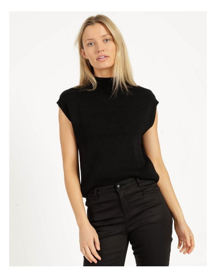 Ribbed Short Sleeve Sweater Black image 1