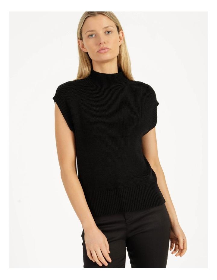 Ribbed Short Sleeve Sweater Black image 3
