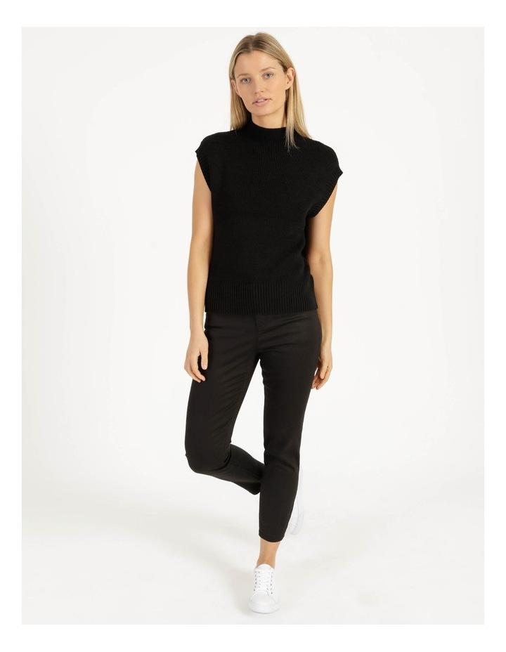 Ribbed Short Sleeve Sweater Black image 4