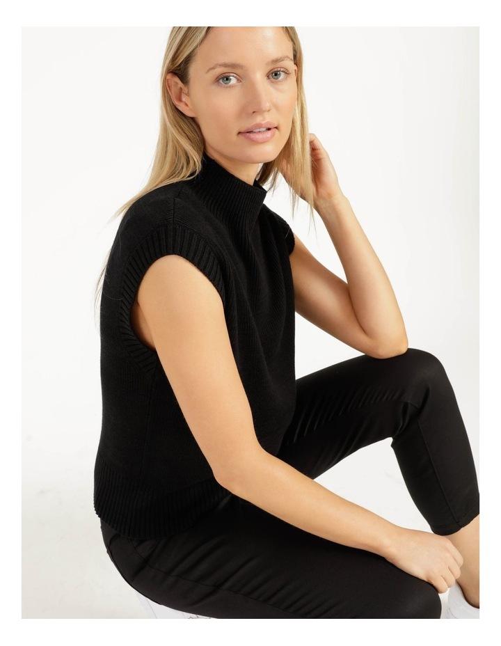 Ribbed Short Sleeve Sweater Black image 5