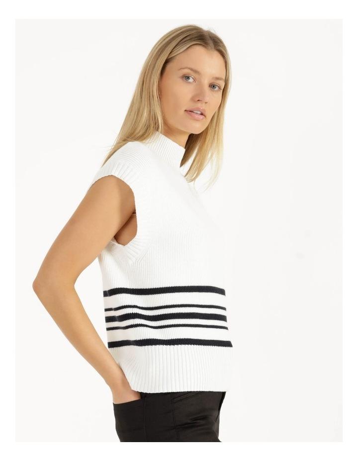 Ribbed Short Sleeve Sweater Stripe image 1