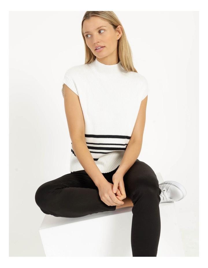 Ribbed Short Sleeve Sweater Stripe image 2