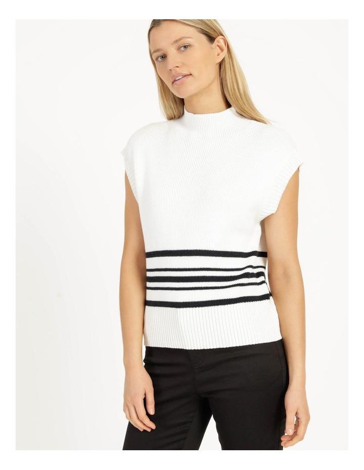 Ribbed Short Sleeve Sweater Stripe image 3