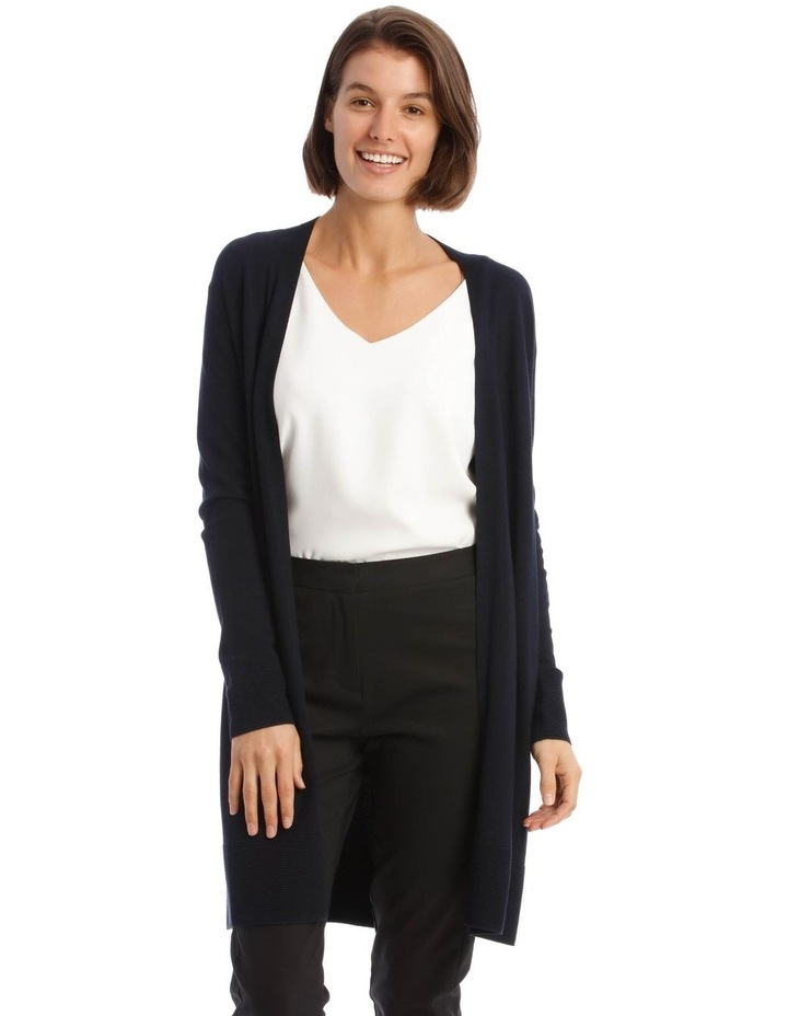 Long-Line Cardigan In Midnight Blue With Ribbed Detail image 1