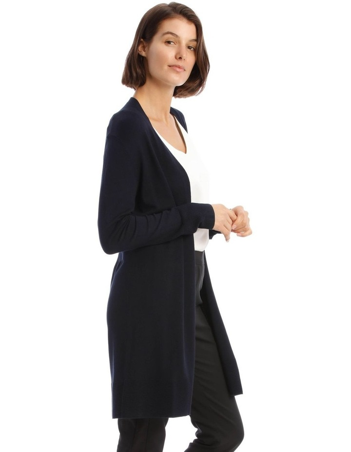 Long-Line Cardigan In Midnight Blue With Ribbed Detail image 2