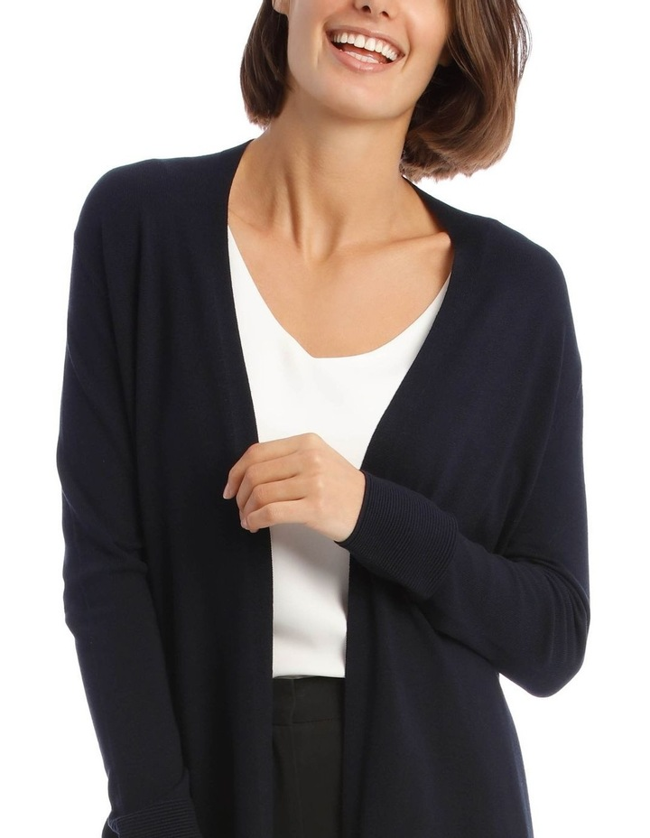Long-Line Cardigan In Midnight Blue With Ribbed Detail image 4