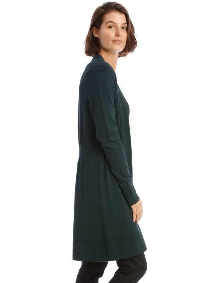 Long-Line Cardigan In Dark Green With Ribbed Detail image 2