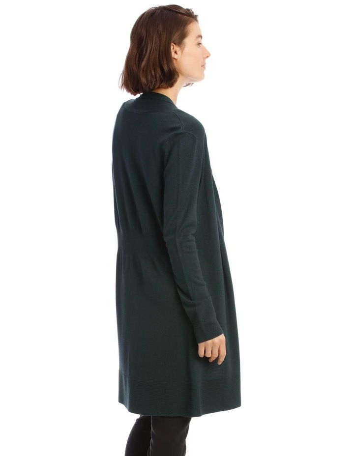 Long-Line Cardigan In Dark Green With Ribbed Detail image 3