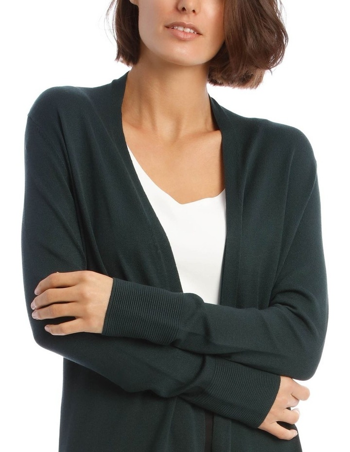 Long-Line Cardigan in Dark Green with Ribbed Detail image 4