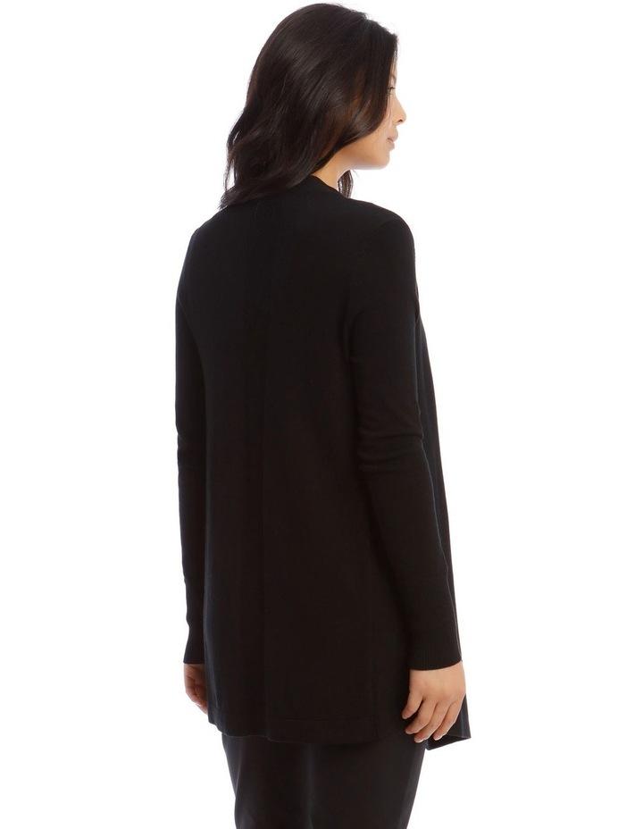 Drape-Front Cardigan in Black image 3