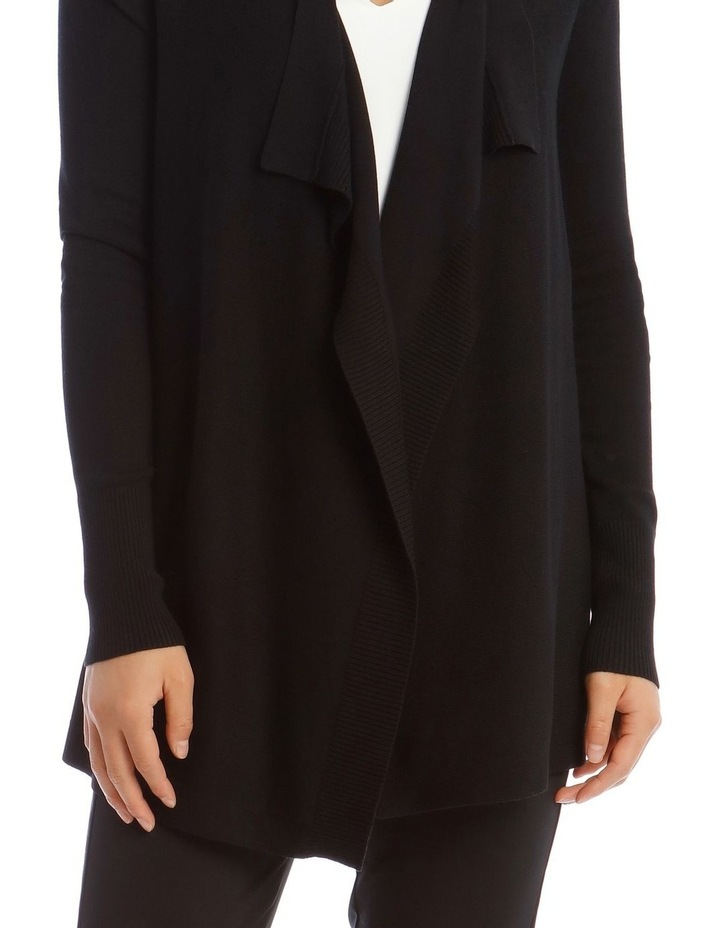 Drape-Front Cardigan in Black image 4