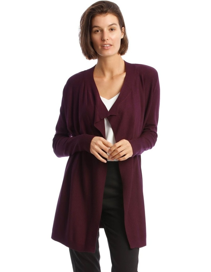 Drape-Front Cardigan in Grape Purple image 1
