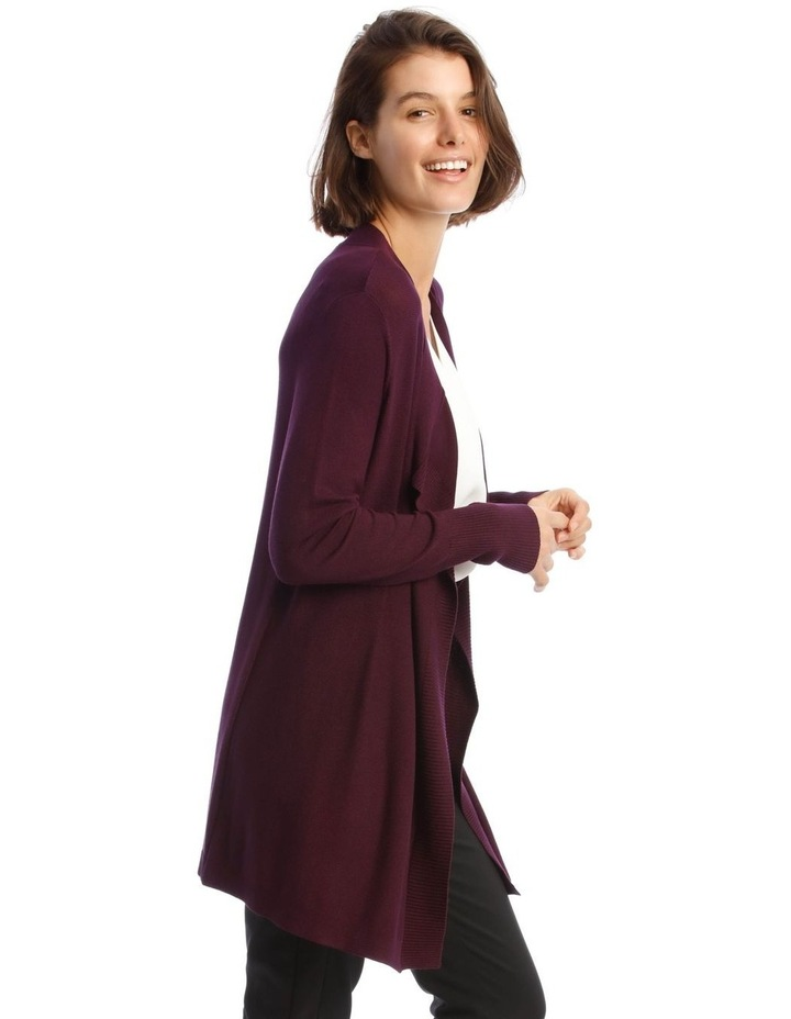 Drape-Front Cardigan in Grape Purple image 2