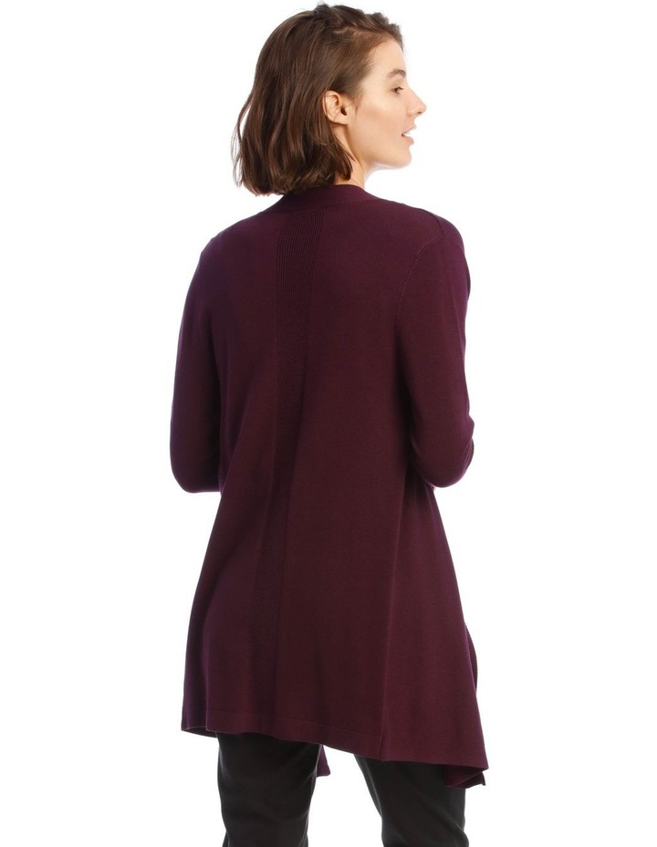 Drape-Front Cardigan in Grape Purple image 3