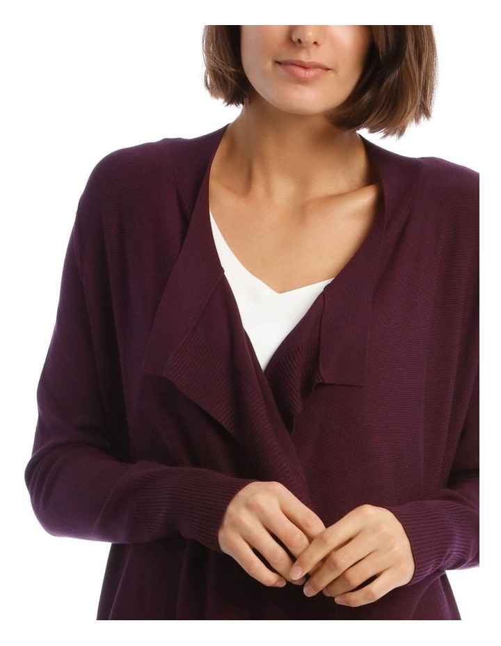 Drape-Front Cardigan in Grape Purple image 4