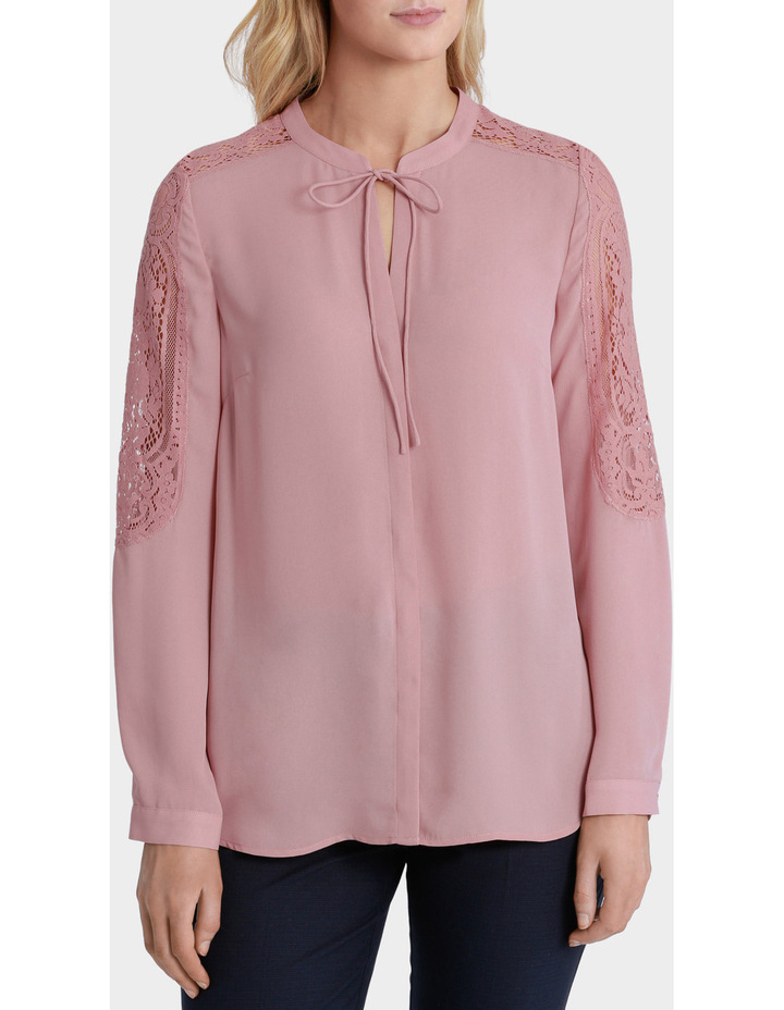 Lace Sleeve Tie Neck Blouse image 2