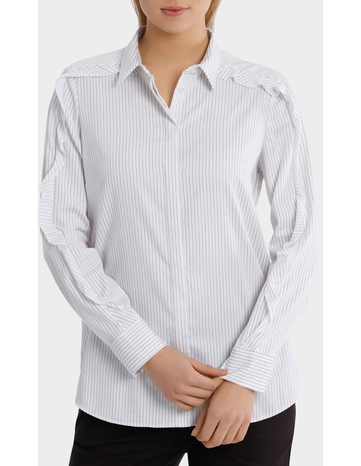 Pinstripe Ruffle Trim Shirt image 1