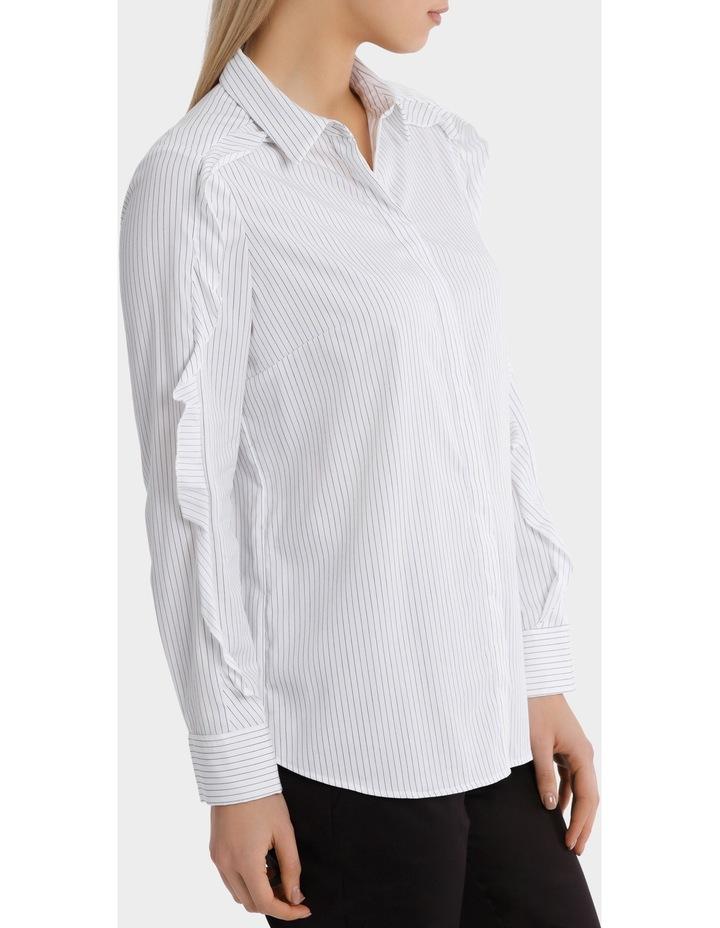 Pinstripe Ruffle Trim Shirt image 2
