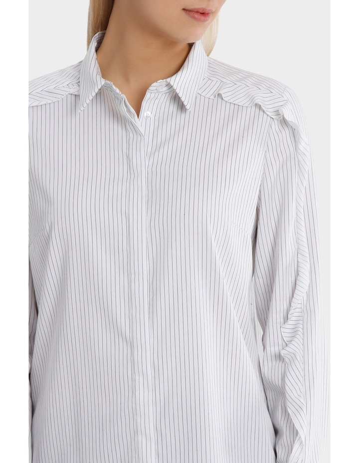 Pinstripe Ruffle Trim Shirt image 4
