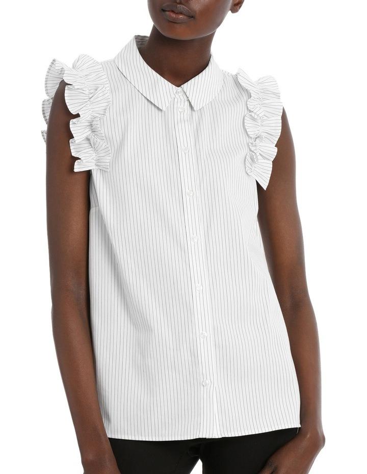 Fine Stripe Ruffle Trim S/Less Shirt image 1