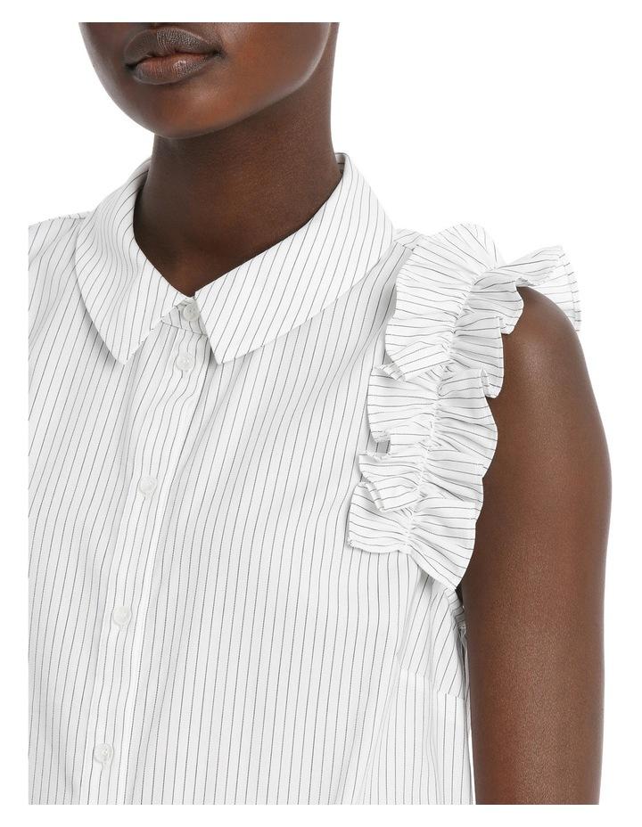 Fine Stripe Ruffle Trim S/Less Shirt image 4