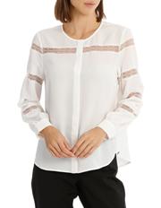 Basque - Lace Stripe Button Down Blouse