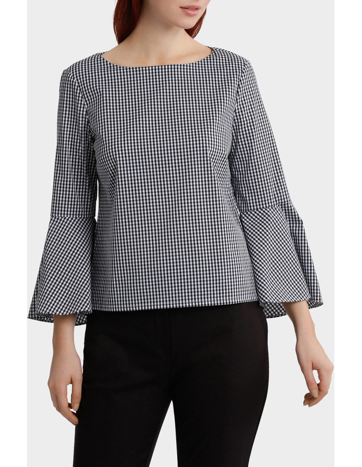 Gingham Bell Sleeve Woven Boxy Top image 1