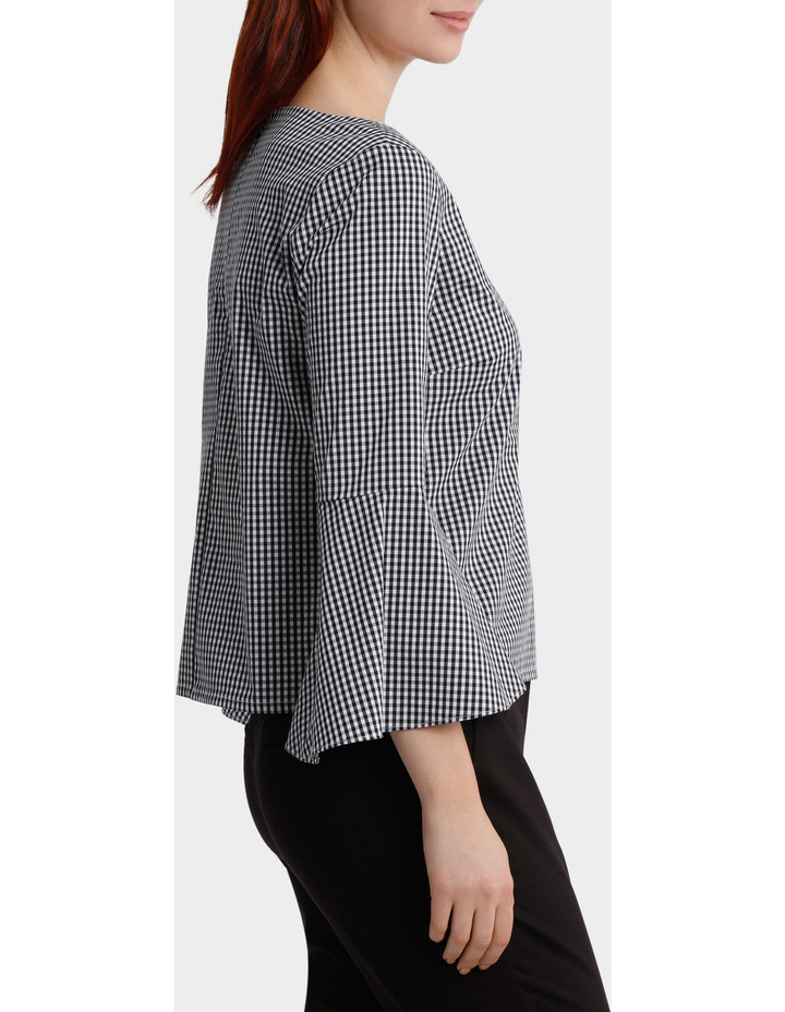 Gingham Bell Sleeve Woven Boxy Top image 2