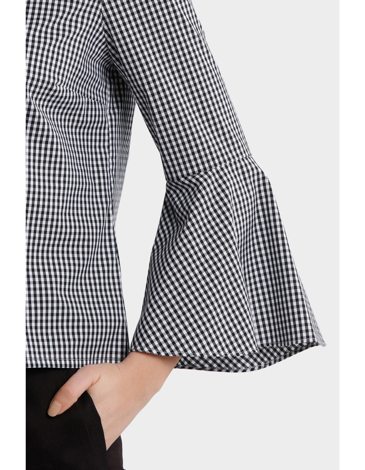 Gingham Bell Sleeve Woven Boxy Top image 4