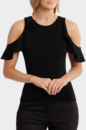Basque - Open Shoulder Flounce Slv Knit