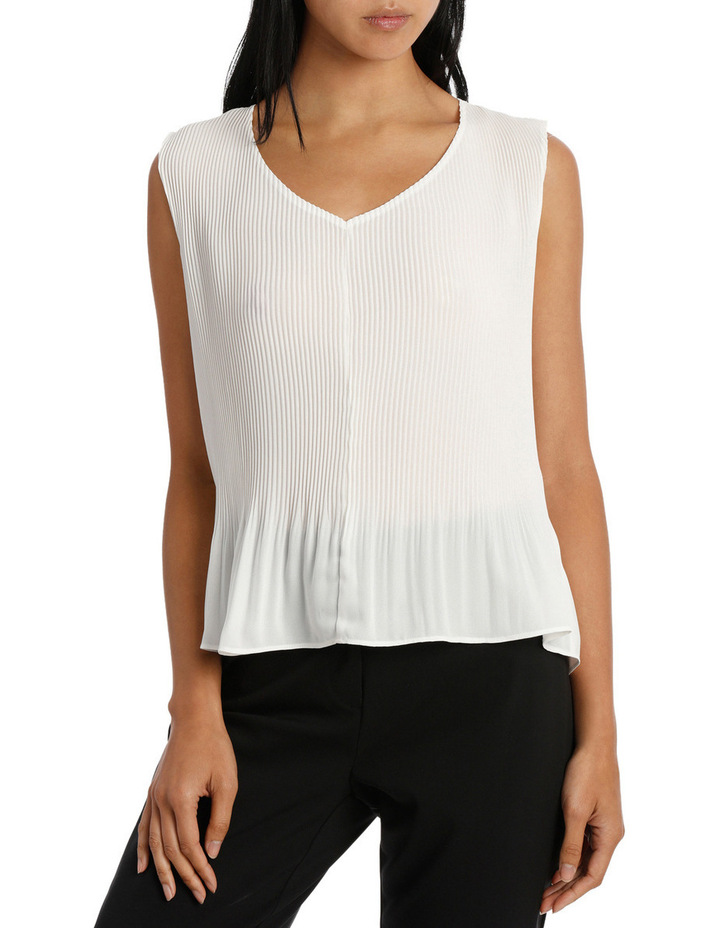 Fine Pleat V Neck Top image 1