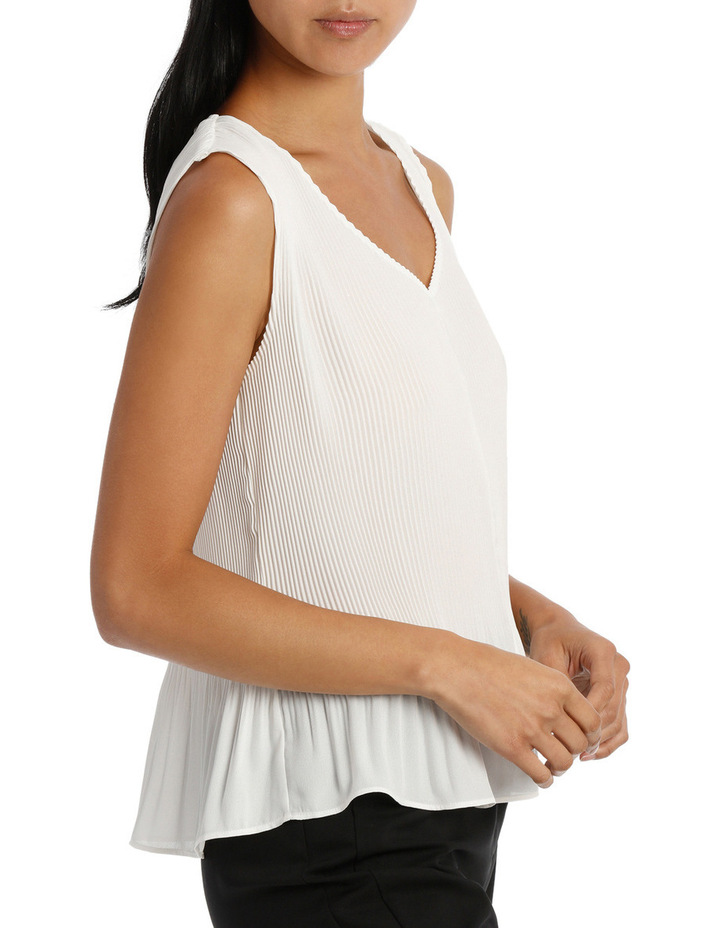 Fine Pleat V Neck Top image 2