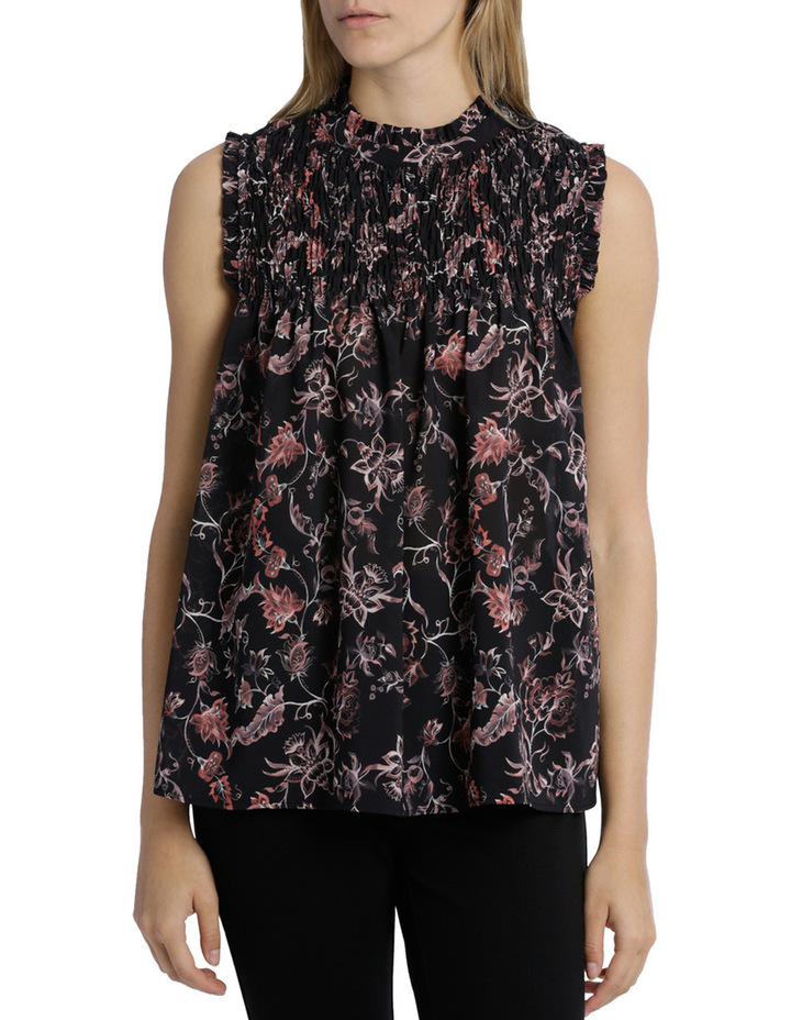 Shirred Yoke Vintage Floral Print Sleeve Less Top image 1