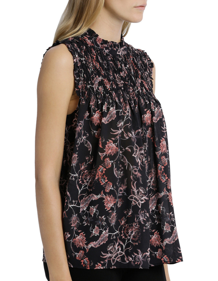 Shirred Yoke Vintage Floral Print Sleeve Less Top image 2