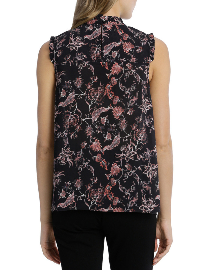 Shirred Yoke Vintage Floral Print Sleeve Less Top image 3