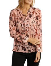 Basque - Vintage Floral Lace Up Long Sleeve Top
