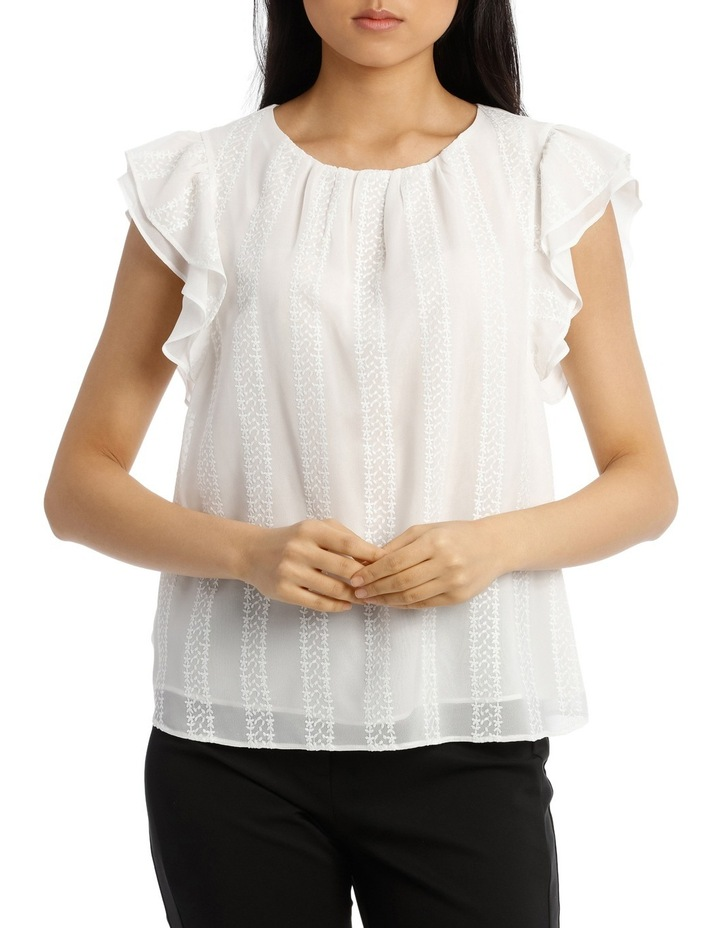 Embroidered Ruffle Sleeve Top image 1