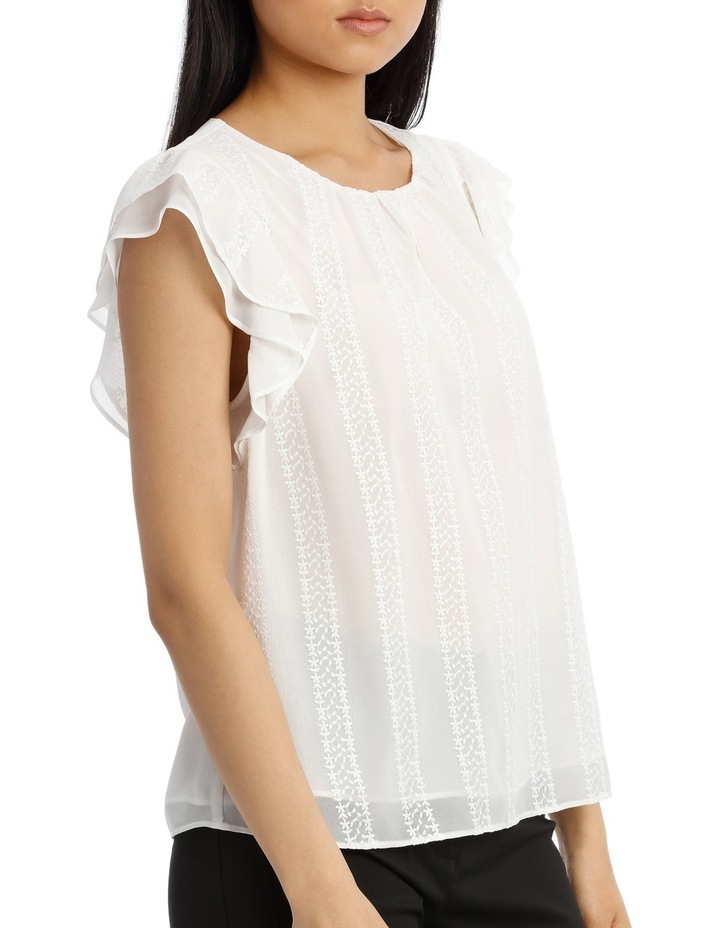 Embroidered Ruffle Sleeve Top image 2