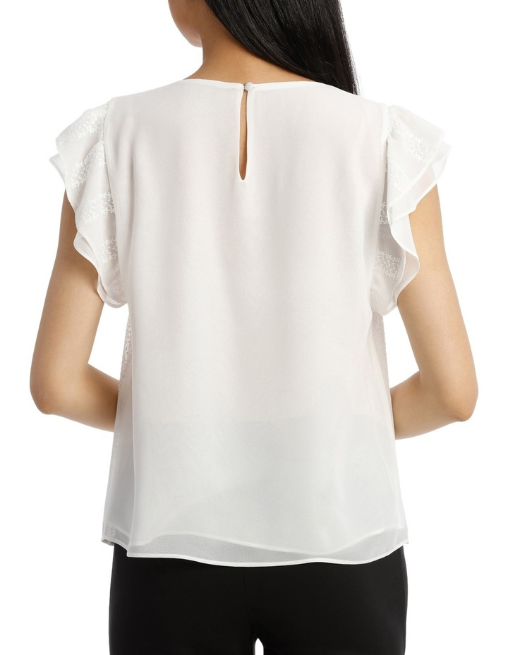 Embroidered Ruffle Sleeve Top image 3