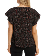 Basque - Must Have Double Flutter Sleeve Top Print