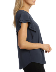 Basque - Must Have Double Flutter Sleeve Top