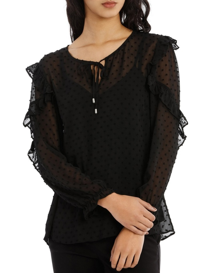 Embroidered Spot Ruffle Sleeve Top image 1