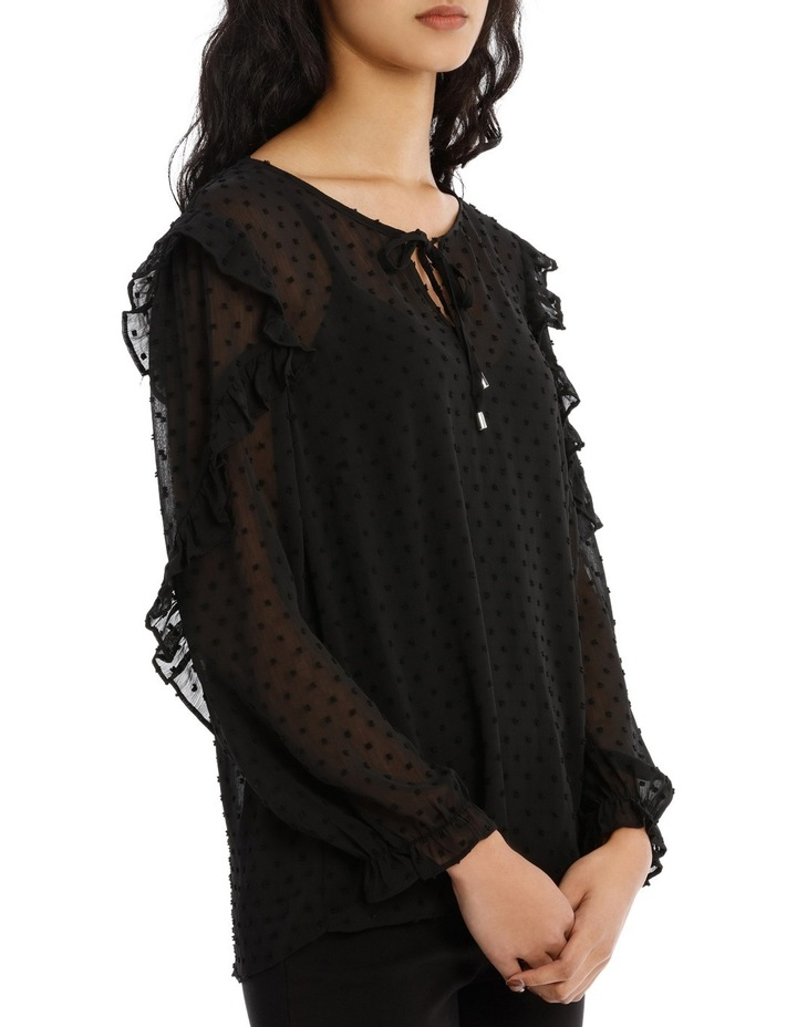 Embroidered Spot Ruffle Sleeve Top image 2
