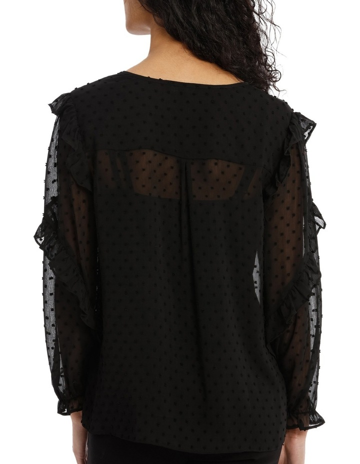 Embroidered Spot Ruffle Sleeve Top image 3