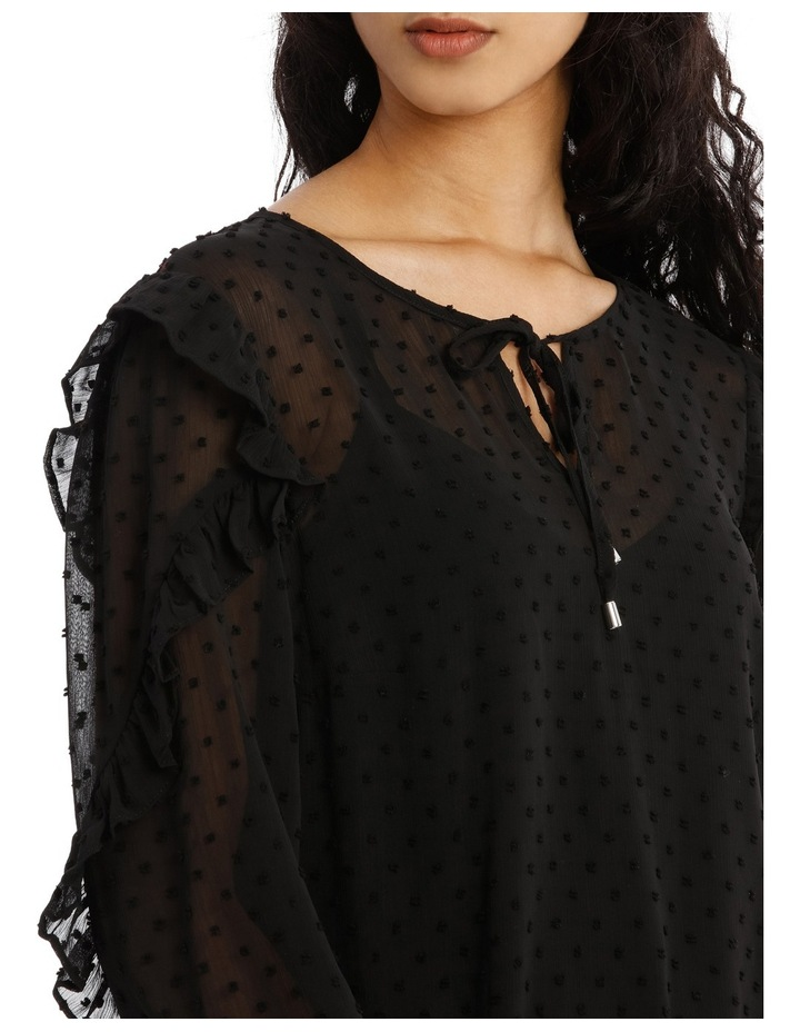 Embroidered Spot Ruffle Sleeve Top image 4