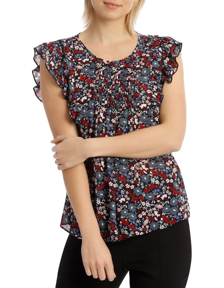 Scattered Floral Pintuck Sleeveless Top image 1